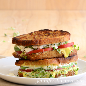 Avocado Sprout Sandwich with Vegan Cheese
