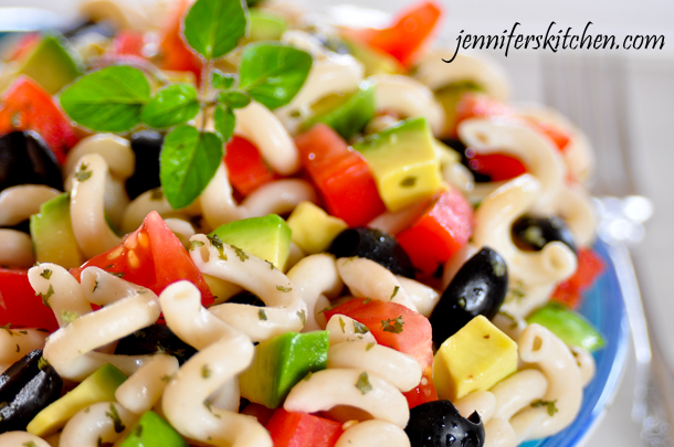 Pasta with Avocado Tomato and Olives