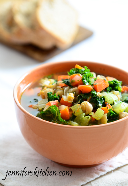 Kale, Carrot, and Chickpea (Garbanzo) Soup | Jennifer's Kitchen