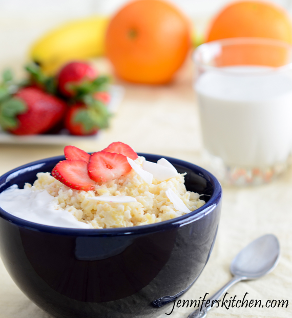 Pineapple Coconut Rice with Strawberries - Awesome breakfast food!