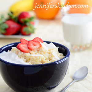 Pineapple Coconut Rice with Strawberries