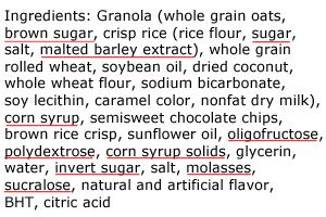 Quaker Chewy Sugar Ingredients