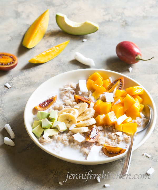 Rice cereal with coconut, mangoes, bananas, and avocados
