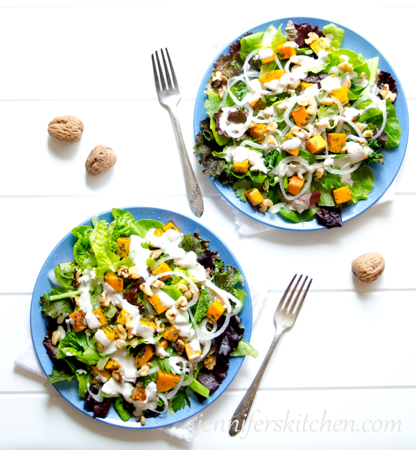 Butternut Squash and Greens Salad with Maple Dressing