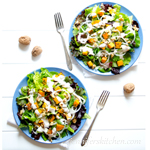 Butternut Squash and Greens Salad with Maple Sunflower Dressing