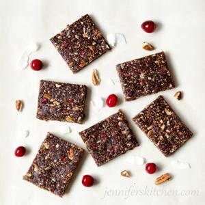 No-Bake, Sugar-Free, Gluten-Free Cranberry-Pecan-Energy Bars