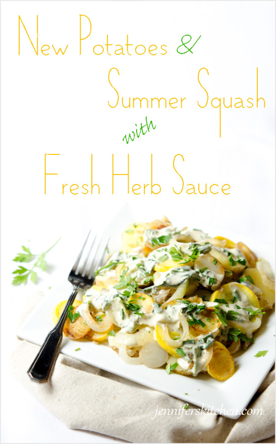 New Potatoes and Summer Squash with Fresh Herb Sauce Pin