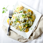 New Potatoes and Summer Squash with Fresh Herb Sauce