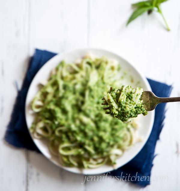 Vegan Gluten Free Pasta with Pesto Sauce