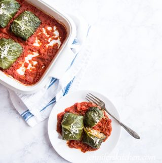 Vegan, Gluten-Free Stuffed Collard Leaves